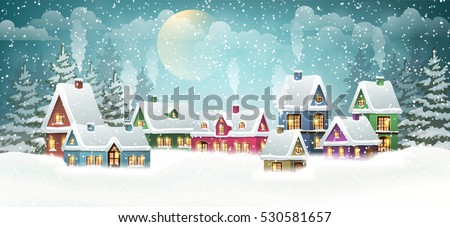 Winter village landscape with pine forest