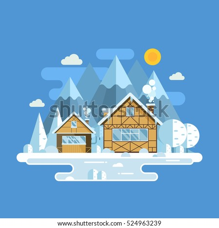 winter village landscape with