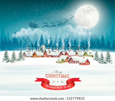 stock-vector-winter-village-night-christmas-background-vector