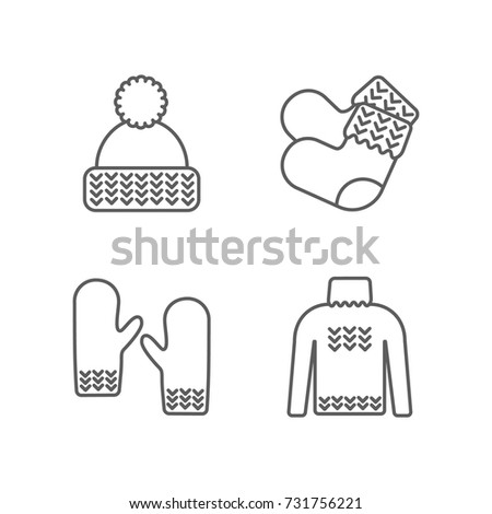 Winter warm knitted clothes icon set. Hat, mittens, socks, sweater hand-knitted garments. Yarn, knitting clothes, knitted samples thin line sign. Knit thin line pictograms.