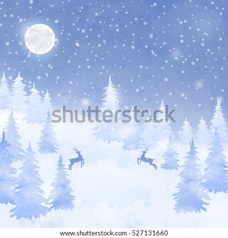 Winter watercolor christmas card. Hand drawn landscape background with falling snow, spruce forest silhouette and deers.
