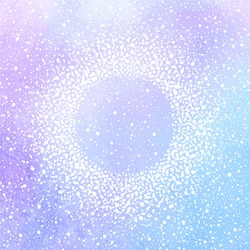 Winter watercolor vector background with falling snow texture and round frame. Christmas, New Year template. Frame made of tiny dots, specks, flecks, snowflakes. Pink and lilac watercolour stains.