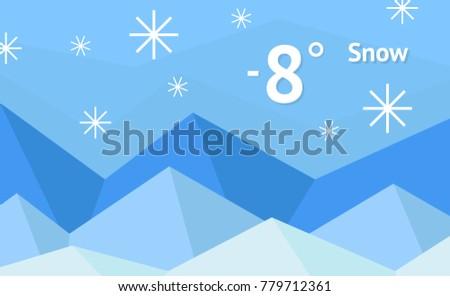 Winter weather widget with snow vector background.