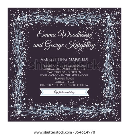 winter wedding invitation card
