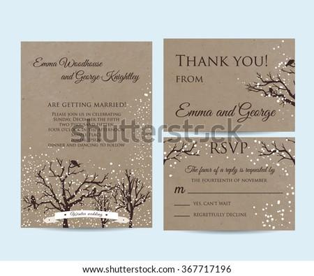 Winter wedding ornaments download free vector art stock graphics winter wedding invitation set on kraft filmwisefo