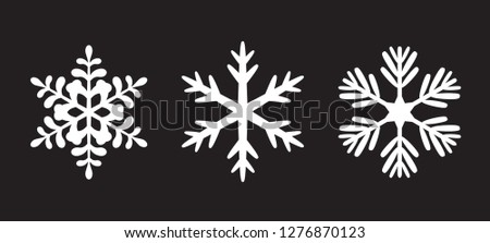 Winter white isolated snowflakes icon. Vector Illustration and graphic elements.