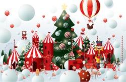 winter wonderland christmas greetings design template vector/ illustration