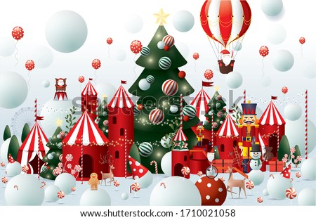 winter wonderland christmas greetings design template vector/ illustration
