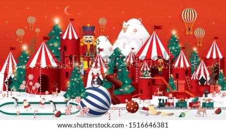 Winter wonderland Christmas greetings template vector/illustration