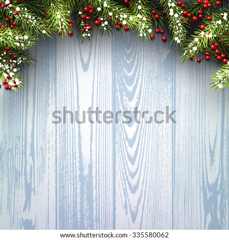 Winter wooden background with fir branches. Vector paper illustration. #335580062