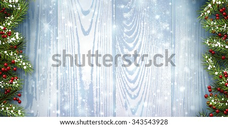 Winter wooden background with fir branches. Vector paper illustration.