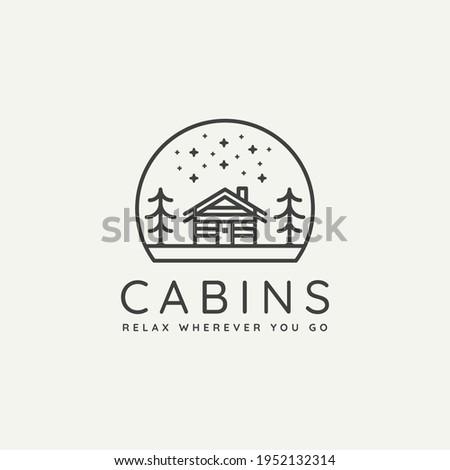 winter wooden cabin minimalist line art badge logo template vector illustration design. simple minimalist cottage, lodge, housing emblem logo icon concept Foto d'archivio ©