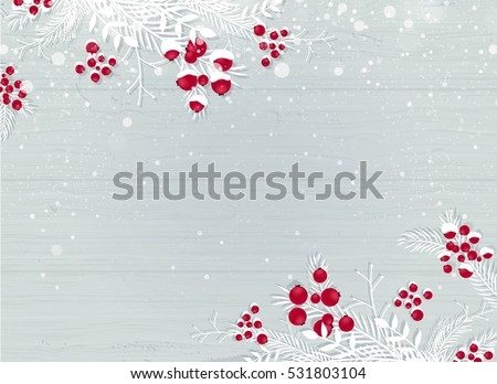 Winter wooden snowy background with white branches and berries - blue woodboard. Christmas wooden background with snow fir tree and copy space. Vector flat illustration #531803104