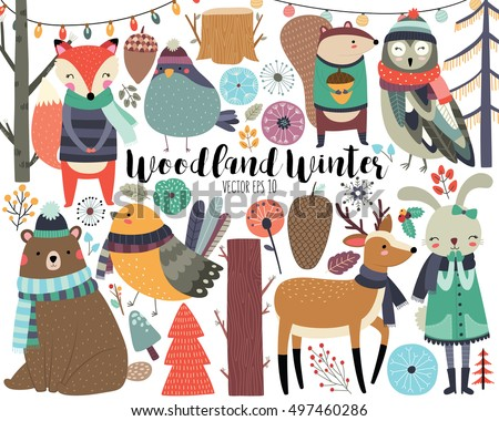 Winter Woodland Animals Cute Forest Animals and Design Elements