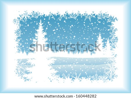 Winter woodland landscape with the Christmas tree and snowflakes, blue silhouettes on white background. Eps10, contains transparencies. Vector