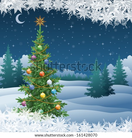 Winter woodland night landscape with the Christmas tree with decorations and snowflakes. Eps10, contains transparencies. Vector