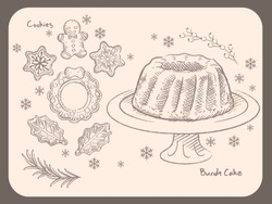 Wintertime and Christmas pastries, cookies, bundt cake. Vintage style vector illustration for menu, poster or other use.