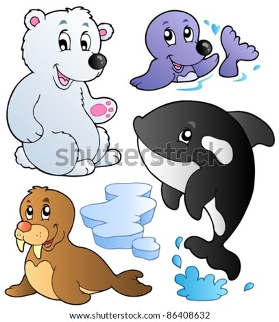 Wintertime animals collection 1 - vector illustration.
