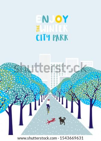 wintertime in city park poster