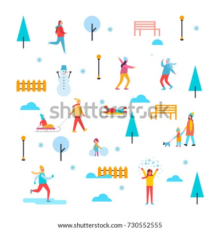 Wintertime outdoor activities, people having fun, skating and playing snowballs, trees and benches, fences and trees with snow vector illustration