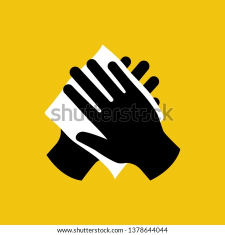 Wipe your hand with damp cloth black icon. Wipe skin paper tissue. Wash hand. Personal hygiene. White napkin. Vector illustration flat design isolated on background. Disinfection skin care.
