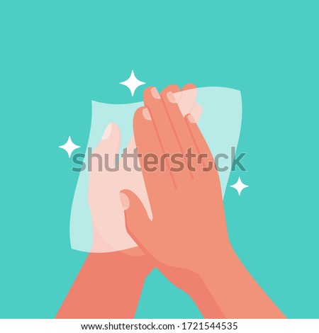 Wipe your hand with damp cloth flat icon. Wipe skin paper tissue. Wash hand. Personal hygiene. White napkin. Vector illustration cartoon design isolated on background. Disinfection skin care.