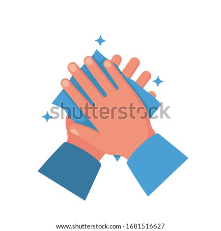 Wipe your hand with damp cloth flat icon. Wipe skin paper tissue. Wash hand. Personal hygiene. Blue napkin. Vector illustration cartoon design isolated on background. Disinfection skin care.