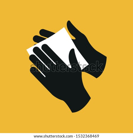 Wipe your hands with a damp cloth. Icon. Simple flat vector illustration.