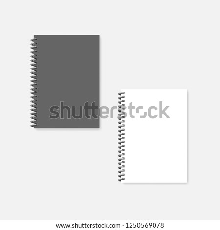 Wire bound blank A4 notebook, realistic vector mock-up. Spiral diary -  gray cover and clear white page, mockup.