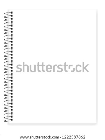 Wire bound blank notebook with white clear pages, vector mock up. Spiral empty letter format notepad, template