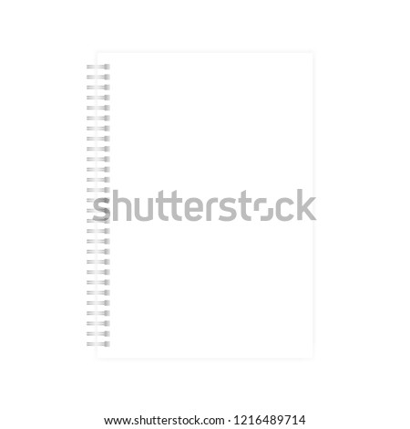Wire bound empty white A4 note book template. Blank page mock-up. Light silver spiral notebook realistic vector mockup.