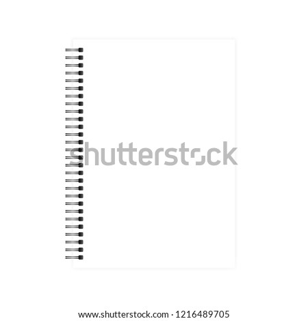Wire bound empty white A4 note book template. Blank page mockup. Side black spiral notebook. Vector mock-up.