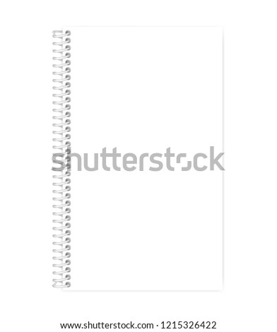 Wire bound empty white note book template. Blank page mockup. Side spiral notebook legal paper format. Vector mock-up.
