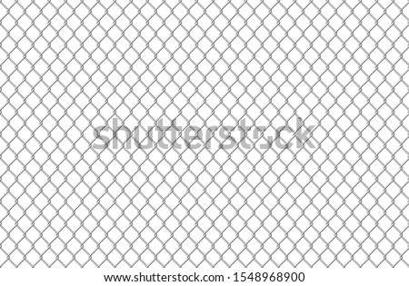 Wire fence pattern. Seamless steel texture background, realistic chainlink safe fence isolated on white. Vector illustration wire mesh steel grid. Metal construction prison, mesh like security concept