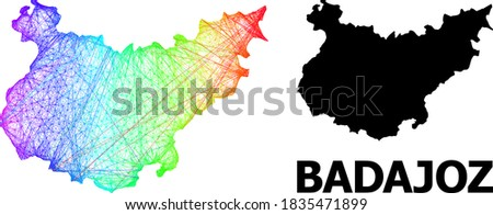 Wire frame and solid map of Badajoz Province. Vector model is created from map of Badajoz Province with intersected random lines, and has rainbow gradient. Abstract lines form map of Badajoz Province.