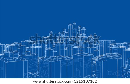 wire frame city  blueprint