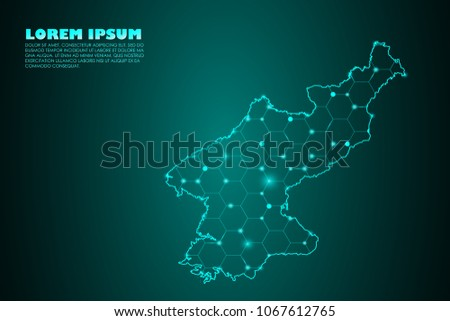 Wire frame 3D mesh polygonal network line. Abstract mash line and point scales on dark background with map of North Korea . Vector illustration eps 10. design polygon sphere.communication world