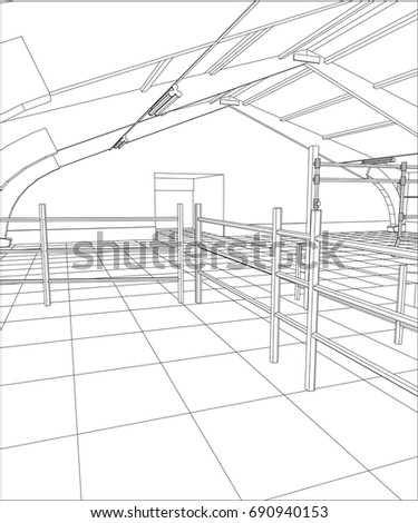 Wire Frame Industrial Building Indoor On The White Tracing