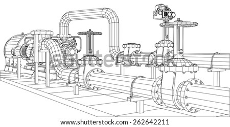 Wire-frame  industrial equipment oil and gas pump. Tracing illustration of 3d. EPS 10 vector format. stock photo
