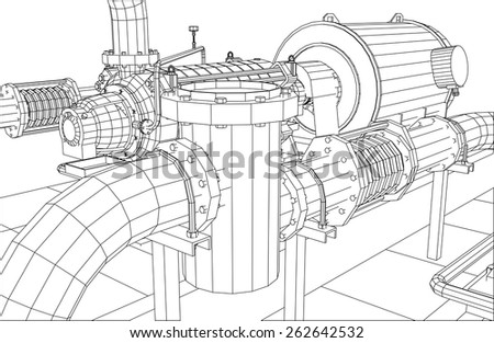 Wire-frame  industrial equipment oil filter. Tracing illustration of 3d. EPS 10 vector format. stock photo