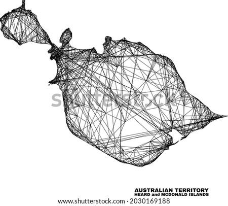 Wire frame irregular mesh Heard and McDonald Islands map. Abstract lines form Heard and McDonald Islands map. Linear carcass 2D net in vector format.