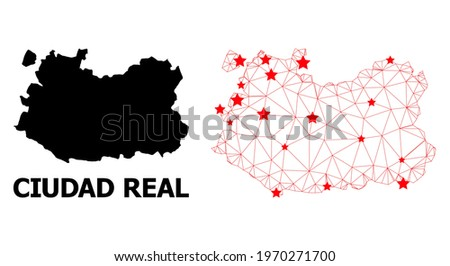Wire frame polygonal and solid map of Ciudad Real Province. Vector model is created from map of Ciudad Real Province with red stars. Abstract lines and stars form map of Ciudad Real Province. Foto stock ©