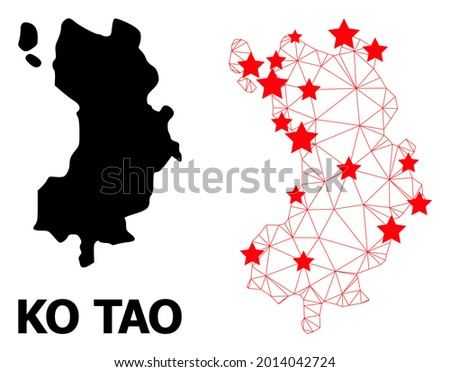 Wire frame polygonal and solid map of Ko Tao. Vector structure is created from map of Ko Tao with red stars. Abstract lines and stars are combined into map of Ko Tao. Zdjęcia stock ©