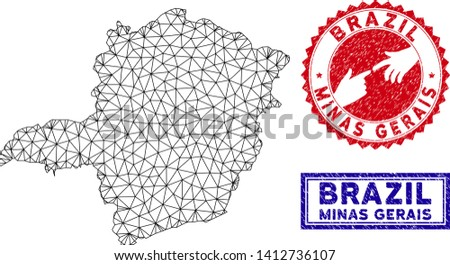 Wire frame polygonal Minas Gerais State map and grunge seal stamps. Abstract lines and spheric points form Minas Gerais State map vector model. Round red stamp with connecting hands.