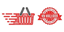 Wire frame shopping basket icon, and New World Order corroded ribbon stamp seal. Red stamp seal has New World Order tag inside ribbon.Geometric wire carcass 2D network based on shopping basket icon,