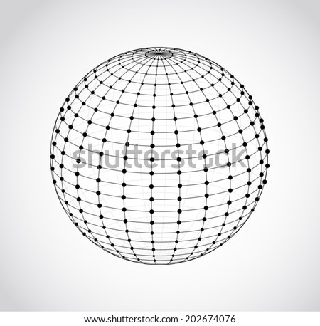wire frame sphere vector