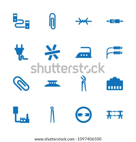 Wire icon. collection of 16 wire filled icons such as iron, pliers, paper clip, phone cable, clip, phone connection cable, cable, plug. editable wire icons for web and mobile.