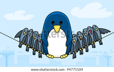 Wire penguin. A penguin is sitting on the wires. Funny cartoon illustration.