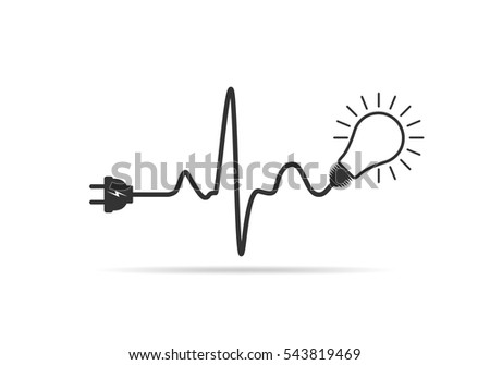 Wire plug and light bulb flat icon. Vector illustration. Plug, light bulb and cord in the form of heartbeat. Concept of Electricity and lighting.