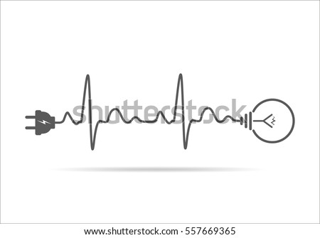 Shutterstock Wire plug and light bulb flat icon. Vector illustration. Plug, light bulb and cord in the form of heartbeat. Concept of Electricity and lighting.